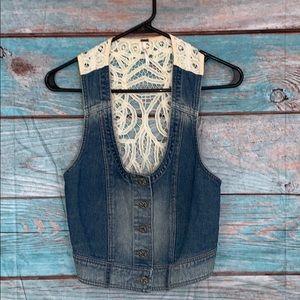 Free People Denim Lace Back Vest Size Xsmall